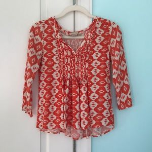 Anthropologie Geometric Pleated Blouse